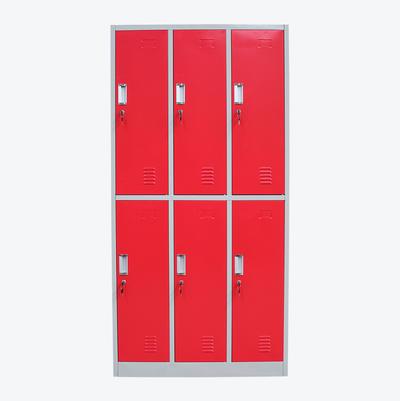 Modern School Gym Lockers Steel 6 Door Clothing Storage for Student