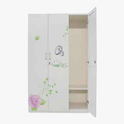White Bedroom Wardrobe Sets Printing Furniture 3 Door Steel material